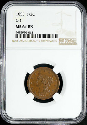 1855 Braided Hair Half Cent 1/2C Ngc C-1 Certified Ms 61 Mint Bn Brown Unc (013)