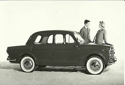 Fiat 1100 Export Old Black and White Photograph Models in 1960's Costume