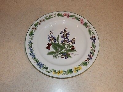 "Royal Worcester China Worcester Herbs Salad Plate Green Trim 8 3/8"" Sage"