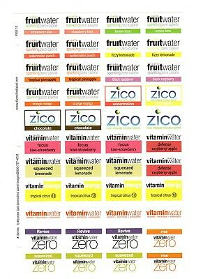 Coke Coca Cola Advertising Stickers  Sheet Of 44  Glaceau Zico Water Vitamin