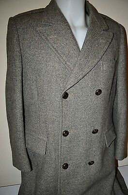 BASKIN WOOL Double Breasted Union USA VTG 80s L LONG SUIT JACKET TRENCH COAT