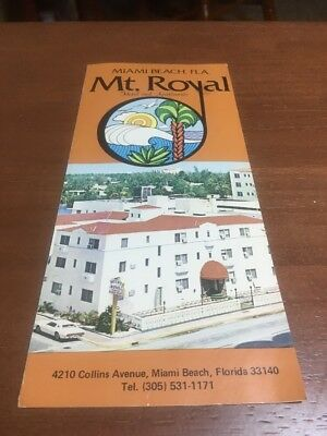 1970's Vintage Mt. Royal Hotel  Miami Beach Florida Brochure