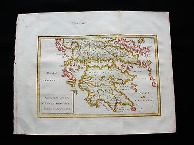 1731 CELLARIUS - rare map of Greece, Balkans, Peloponnese, Crete, Athens, Candia