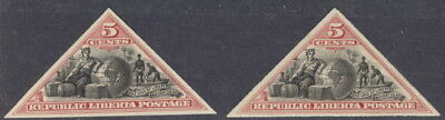 Liberia 1894, 5c triangles, roulette and imperforate, MINT #52-3 WATERLOW