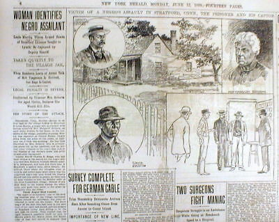2 1899 newspapers w Near LYNCHING of NEGRO MAN in STRATFORD Connecticut - w pics