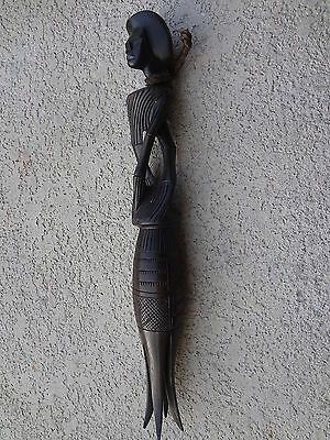"""Vintage African Style Tall Hand Carved Dark Iron Wood Twisted Stylized Man 16"""""""