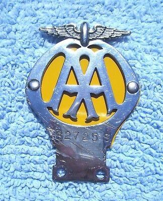 VINTAGE 1950s AA MOTORCYCLE ISSUE CAR BADGE - OLD BRITISH AUTOMOBILE ASSOCIATION
