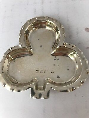 VICTORIAN Three Leaf Clover Solid Sterling SILVER Dish 1897/98