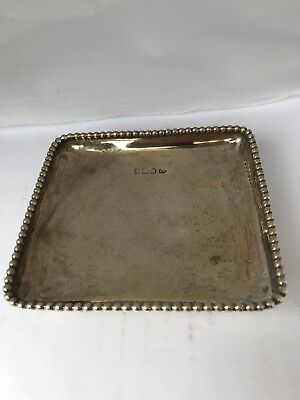 Square ANTIQUE Solid Sterling SILVER Dish  With Four Legs 1905 87 Grams