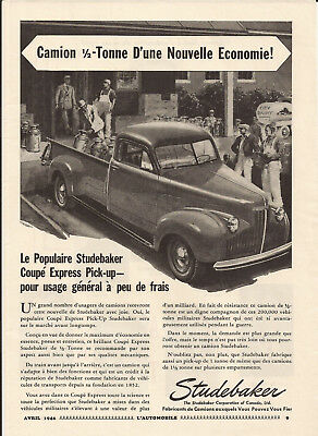 1946 Studebaker Express Coupe Pick-Up Half Ton Truck Original Ad In French