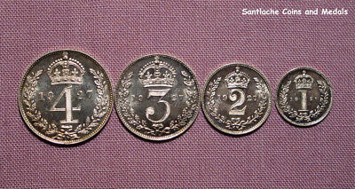 1927 KING GEORGE V SET MAUNDY COINS - 4d to 1d - SCARCE