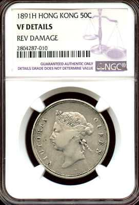 Hong Kong 1891 H  Silver 50 Cents, Queen Victoria,  NGC graded VF