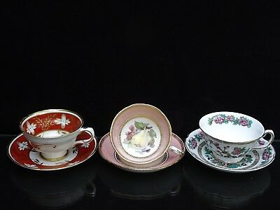 3 Vintage English Cups And Saucers