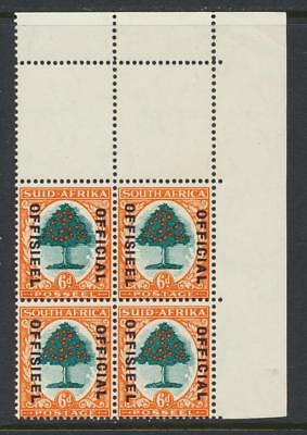SOUTH AFRICA 1937, 6d OFFICIAL BLOCK,  VF MNH SG#O16 (SEE BELOW)