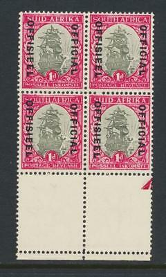 SOUTH AFRICA 1930, 1d OFFICIAL BLOCK,  VF MNH SG#O13 (SEE BELOW)