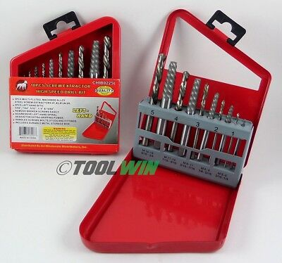 Screw Extractor Kit Remove Broken Bolts Fasteners Easy Out Drill Bit 10 pc Set