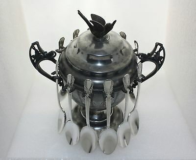 Victorian Silver Pedestal Sugar Bowl Rabbit Handles Flying Bird Lid & 12 Spoons