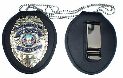 LEATHER HOLDER With Neck Chain FOR GOLD CONCEALED CARRY WEAPONS PERMIT CCW/CWP