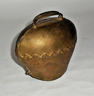 ANTIQUE European Bronze / Brass LARGE Cow Bell BEAUTIFUL PATINA