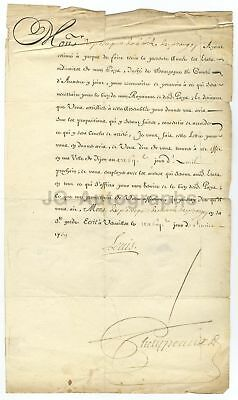 King Louis XV of France - Secretarial Signature - Document from 1700s