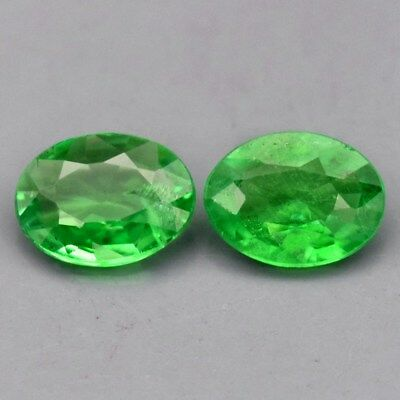 Pair 2pcs/0.30ct t.w 4x3mm Oval Natural Vibrant Green Tsavorite Garnet, Tanzania