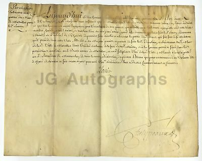 King Louis XV of France - Secretarial Signature - Document from 1746
