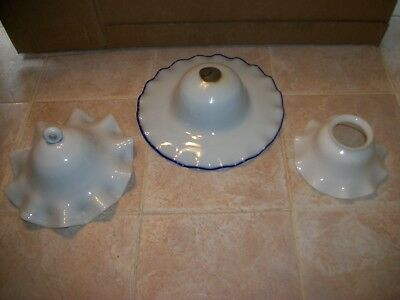Lot of 3 Antique White Milk Glass Shades Smoke Bells Ruffled Edges Oil Lamp Blue