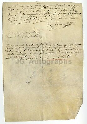 300+ Year Old Early French Document (Circa 1700s) - Original Vellum Doc. France