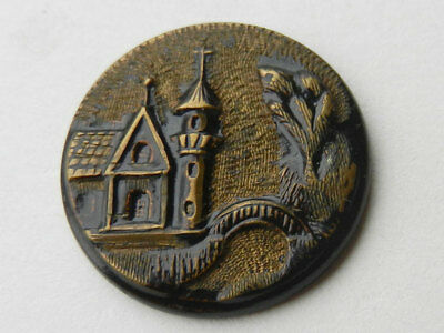 Pretty Antique Victorian Large Metal Picture Button Church and Foot Bridge