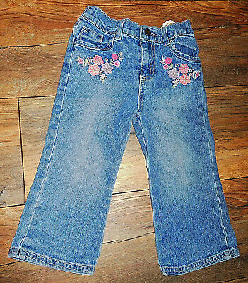 Faded Glory Embroidered Floral Blue Jean Stretch Pants Girl Boy Size 24 Months