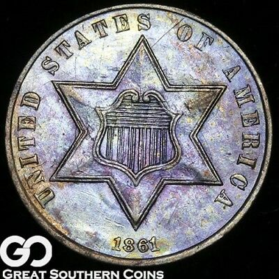 1861 Three Cent Silver, Attractive Rainbow Colors, Sharp Civil War Issue