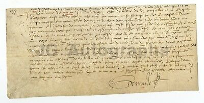 500 Year Old Early French Document (Circa 1500s) - Original Vellum Doc. France