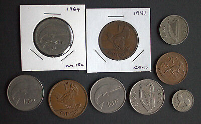 lot of 9 Irish coins Ireland Eire florins pence shilling harp