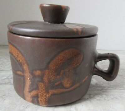 Old Vintage Mid Century Canada Art Pottery Brown Covered Handled Bowl