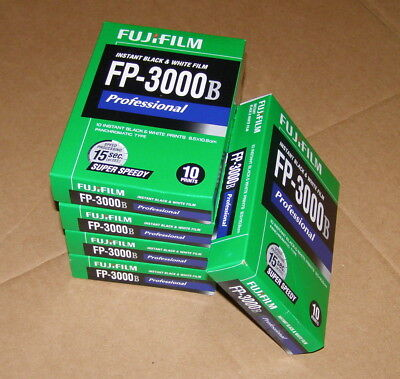 Lot 5 Boxes FujiFilm FP-3000B Instant Black & White Film