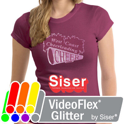 Siser VideoFlex Glitter HTV Heat Transfer Vinyl for T-Shirts Sheets/Rolls