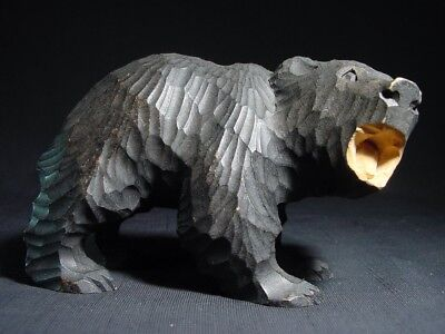 Ainu Black Bear Cub Carving Higuma Rare Pose Vintage Growling in Forest