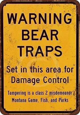 "Warning Bear Traps Montana Vintage Rustic Retro Metal Sign 8"" x 12"""