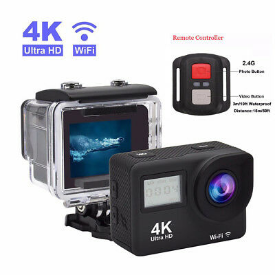 2 inch 4K Waterproof Sport Camera 170 Degree Wide Angle WiFi HD LCD 12MP Camera