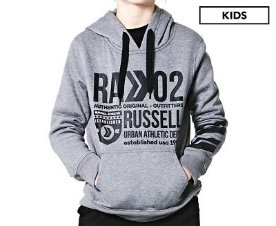 Russell Athletic Boys' Department Hooded Sweat - Oxford Grey