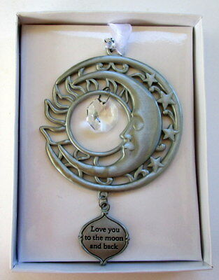 """Silver """"love You To The Moon & Back"""" Charm Hanging Suncatcher  Brand New In Box"""