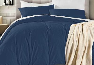 Deep Blue Color Quilt Cover Set / Vintage Washed Doona Cover Single/Queen/King