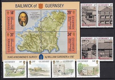 Guernsey 2 X Sets + S/s Commemoratives Below Face Value (31) Mint Never Hinged