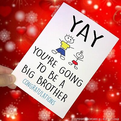 Surprise Card Going To Be A Big Brother Congrats New Baby Sibling Son Cards PC82