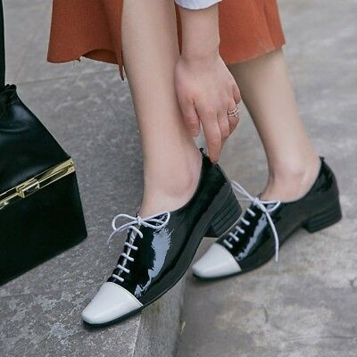 0fe97b0283 Women's Lace Up Oxford Patent Leather Wing Tip Brogues College Style Flat  Shoes