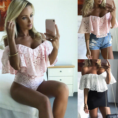 Fashion Women's Lace off Shoulder V Neck Bodysuit  High Waist Jumpsuits Swimsuit