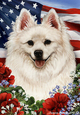 Garden Indoor/Outdoor Patriotic I Flag - American Eskimo 161261