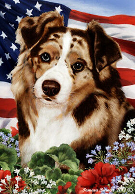 Garden Indoor/Outdoor Patriotic I Flag - Red Merle Australian Shepherd 162021