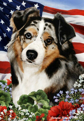Garden Indoor/Outdoor Patriotic I Flag - Blue Merle Australian Shepherd 160591