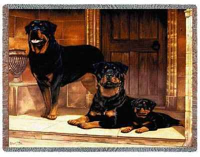 Throw Tapestry Afghan - Rottweiler Family by Robert May 1146